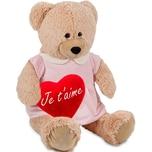 Brubaker Bärenmädchen mit rosa Kleid 100 cm Beige mit einem 'Je T'Aime' Plüschherz - Stofftier