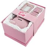 Brubaker Set Mein erstes Sparschwein rosa für erstes Spargeld, Milchzähne, Haare und mit Bilderrahmen
