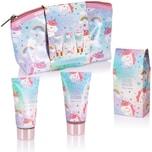 BRUBAKER Cosmetics 4-tlg. Einhorn Bade- und Dusch Set Cherry Blossom - Geschenkset mit Kirschblüten Duft in Kosmetiktasche