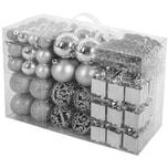 Brubaker 101-teiliges Set Weihnachtskugeln mit Baumspitze Christbaumschmuck Silber