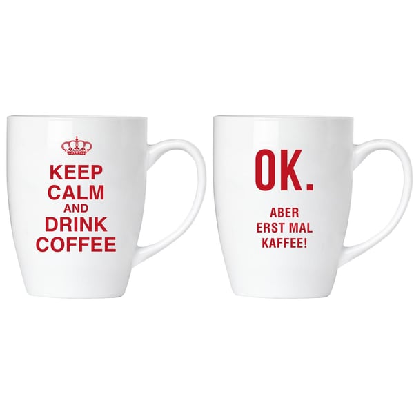 Brubaker Keep calm and drink coffee! Tassen Set mit Grußkarte in Geschenkpackung
