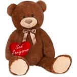 Brubaker XXL Teddybär 100 cm Dunkelbraun mit einem Seni Seviyorum Herz