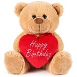 Brubaker Teddy Plüschbär mit Herz Rot Beige Happy Birthday 25 cm