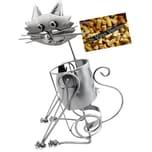Brubaker Weinflaschenhalter Katze Flaschenständer Deko-Objekt Metall mit Grußkarte
