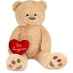 Brubaker XXL Teddybär 100 cm Beige mit einem Seni Seviyorum Herz Stofftier Plüschtier Kuscheltier