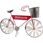 Brubaker Vintage Fahrrad Willkommen zum Bepflanzen mit 2 Windrädern Metall wetterfest mit Antik EffektRot 54,5 x 36 x 11 cm