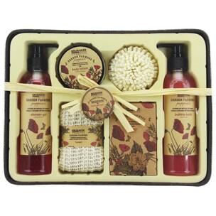 Brubaker Bade- und Dusch Set Mohnblumen Duft 7-teiliges Geschenkset im rustikalem Deko-Korb