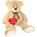 Brubaker Riesiger XXL Teddybär 150cm Beige mit einem Happy Birthday Plüschherz
