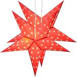 Brubaker 2er Pack LED Falt Weihnachtssterne Fotokarton 60 cm Ø Rot