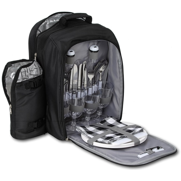 Brubaker Picknickrucksack Kühltasche für 4 Personen mit isoliertem Flaschenhalter