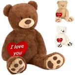 Brubaker XXL Teddybär 100 cm Braun mit einem I Love You Herz