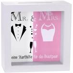 BRUBAKER Bilderrahmen Spardose Mr & Mrs Kleine Starthilfe für das Brautpaar zur Hochzeit Grau