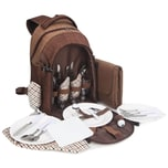 Brubaker Picknickrucksack für 4 Personen mit Kühlfach und wasserfester Picknickdecke