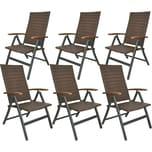 Brubaker 6er Set Gartenstühle Modena Hochlehner klappbar aus Poly Rattan Braun/Grau