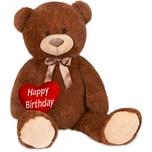 Brubaker XXL Teddybär 100 cm Dunkelbraun mit einem Happy Birthday Herz
