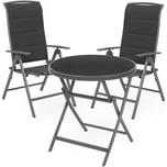 Brubaker Sitzgruppe Milano Glastisch 70 cm Durchmesser mit 2 Hochlehner Stühlen Aluminium Silbergrau