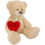 Brubaker XXL Teddybär 100 cm Beige mit einem Best Mum Herz