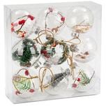 Brubaker 9-teiliges Set Acryl Weihnachtskugeln Christbaumkugeln transparent befüllt Ø 10 cm