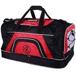 Brubaker Medium Base Sporttasche 52 L mit großem Nassfach als Bodenfach und Schuhfach Schwarz Rot
