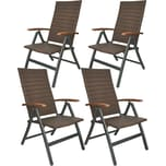Brubaker 4er Set Gartenstühle Modena Hochlehner klappbar aus Poly Rattan Braun/Grau