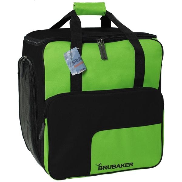 Brubaker Super Function Skischuhtasche Helmtasche Rucksack mit Schuhfach Schwarz Grün