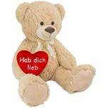 Brubaker XXL Teddybär 100 cm Beige mit einem Hab Dich Lieb Herz