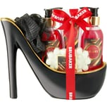 BRUBAKER Cosmetics Luxus Erdbeere und Kokosmilch Beautyset 6-teiliges Bade- und Dusch Set Geschenkset in Keramik Stiletto Schwarz Gold