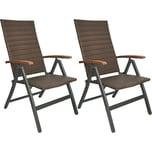 Brubaker 2er Set Gartenstühle Modena Hochlehner klappbar aus Poly Rattan Braun/Grau