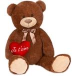Brubaker XXL Teddybär 100 cm Dunkelbraun mit einem Je T'Aime Herz