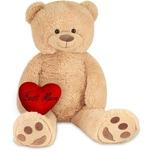 Brubaker XXL Teddybär 100 cm Beige mit einem Best Mum Herz Stofftier Plüschtier Kuscheltier