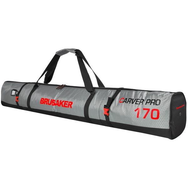 Brubaker CarverTec Pro Skisack für 1 Paar Ski und Stöcke Silber Rot