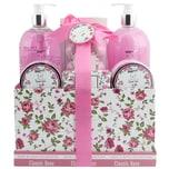 Brubaker Bade- und Dusch Set Rosen Duft 13-teiliges Beauty Geschenkset in Vintage Geschenkbox