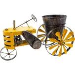 Brubaker Vintage Traktor zum Bepflanzen mit Windspiel 23 x 28 x 48 cm Metall wetterfest Handbemalt mit Antik Effekt Gelb