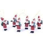 Brubaker 6-TLG. Set Weihnachtsmann Holzanhänger - Baumschmuck - Christbaumschmuck aus Holz