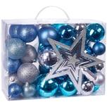 Brubaker 50-teiliges Set Weihnachtskugeln mit Baumspitze Christbaumschmuck für den Weihnachtsbaum Blau