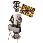 Brubaker Weinflaschenhalter Koch am Barbecue Grill Deko-Objekt Metall mit Grußkarte
