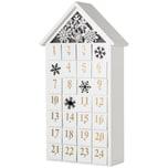 Brubaker Adventskalender Haus Holz Weiß mit LED Beleuchtung 24,3 x 45 x 8 cm