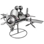 Brubaker Weinflaschenhalter Flugzeug mit Pilot und Co Pilot Deko-Objekt Metall mit Grußkarte
