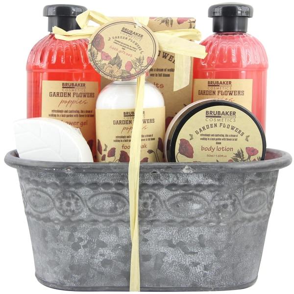 Brubaker Bade- und Dusch Set Mohnblumen Duft 7-teiliges Geschenkset im Vintage Pflanzkübel