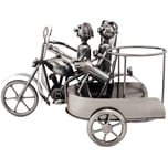 Brubaker Flaschenhalter Motorrad mit Beiwagen Deko-Objekt Metall mit Grußkarte