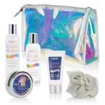 BRUBAKER Cosmetics 6-tlg. Einhorn Bade- und Dusch Set Colorful Rainbow - Geschenkset mit Vanille Lavendel Duft in Kosmetiktasche