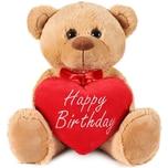 Brubaker Teddy Plüschbär mit Herz Rot Beige Happy Birthday 35 cm