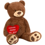 Brubaker XXL Teddybär 100 cm Braun mit einem Liebste Mama der Welt Herz Stofftier Plüschtier Kuscheltier