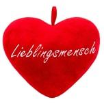Brubaker Plüschkissen in Herzform Lieblingsmensch Rot 32 cm