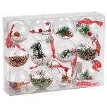 Brubaker 12-teiliges Set Acryl Weihnachtskugeln Christbaumkugeln transparent befüllt Ø 8 cm