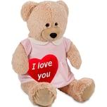 Brubaker Bärenmädchen mit rosa Kleid 100 cm Beige mit einem 'I Love You' Plüschherz - Stofftier