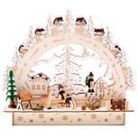 Brubaker 3D LED Lichterbogen Schwibbogen - Winterlandschaft mit Dorf - LED Beleuchtung - Holz natur