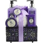Brubaker Bade- und Dusch Set Lavendel Magnolien Duft 7-teiliges Geschenkset in dekorativem Korb