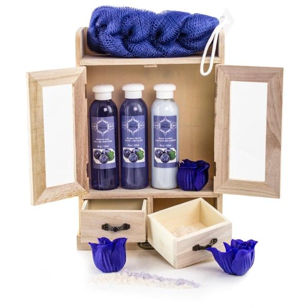 Brubaker Bade- und Pflegeset Blaubeere im Holzschrank