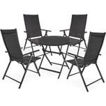 Brubaker Sitzgruppe Riva Glastisch 70 cm Durchmesser mit 4 Hochlehner Stühlen Aluminium Anthrazit